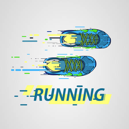 Sport shoes. Logo for sports club. Speed breaking shoes. Vector. Illustration