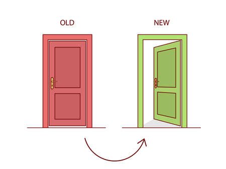 redirection: Two doors indicating the old and the new website. Vector Illustration