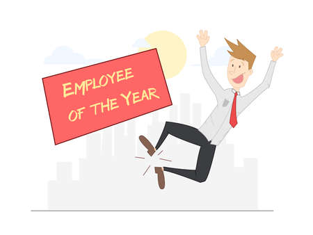 happy employee: Happy to have been named employee of the year in your company man. vector Illustration