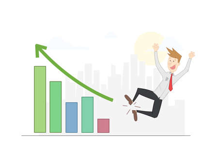 managed: Blond man jumping for joy for having managed to increase their sales. Growth chart and city background. Vector
