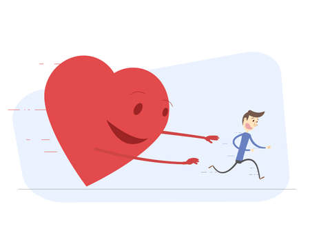 him: Man running from love. Heart trying to catch him