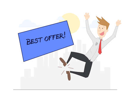 madness: Blond man jumping for joy at having the best market supply. City background. Vector Illustration
