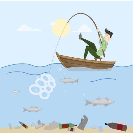 L'uomo cerca di pesce. Sea completamente pieno di merda. Contaminazione. Vettore
