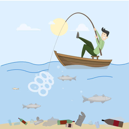Man trying to fish. Sea completely full of crap. Contamination. Vector
