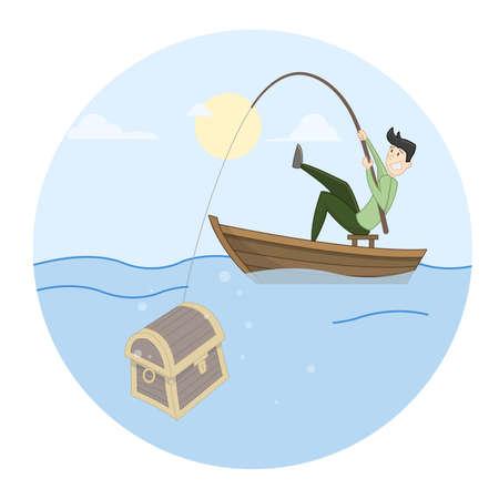 man fishing: Man fishing treasure. Vector