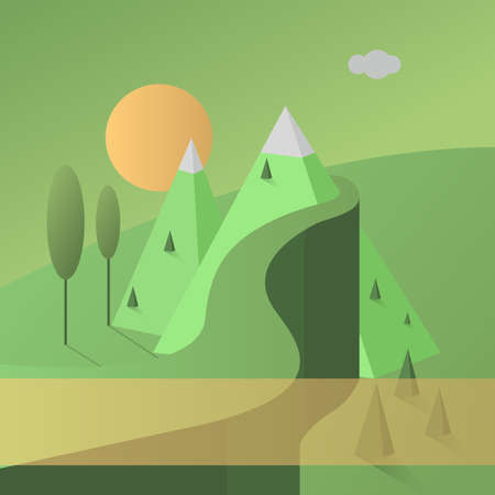 sun road: Abstract green background. Mountain landscape with road and sun. Vector