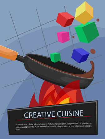 fine cuisine: Pan with creative food. Colorful cubes with brown sauce. Vector