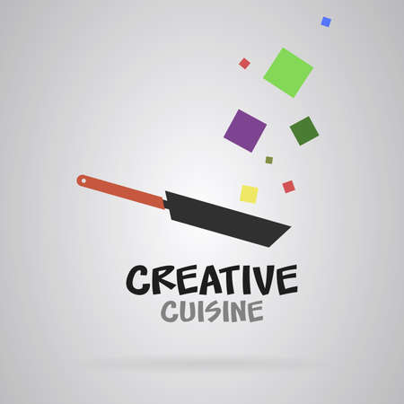 Pan with creative food. Colorful cubes. Vector