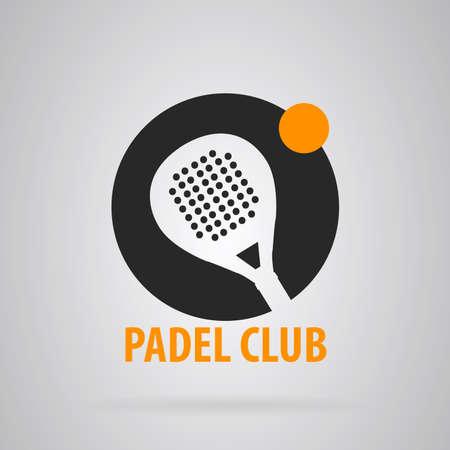 Semplice logo Padel Tennis. Sfondo grigio con accenti di colore arancione. Vettore