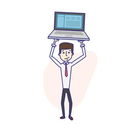 computer programmer: Man holding a laptop. Computer programmer job. Vector Illustration