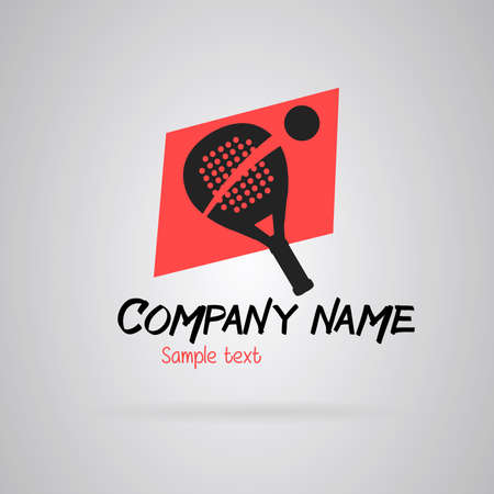 Logo Simple padel tennis. Gray and red
