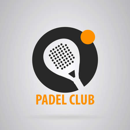 accents: Logo Simple padel tennis. Gray background with orange accents.