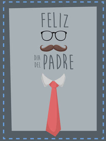 background card: Happy fathers day. Spanish text Happy fathers day Illustration