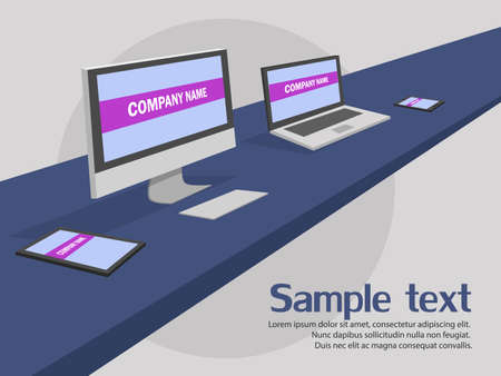 work space: Modern  work space mock up with sample text desktop.