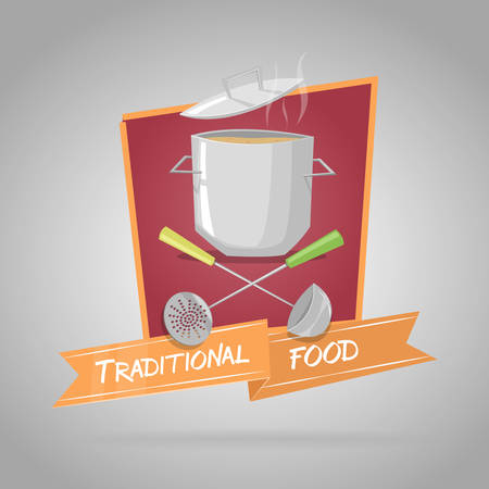 cooking utensils: Traditional food. Pot with cooking utensils. Vector Illustration