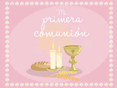 """Mijn eerste communie. Kaart uitnodiging. Religieuze elementen op een blauwe achtergrond. Frame gemaakt met bloemen. Vector. Spaanse tekst """"Mijn eerste communie"""""""