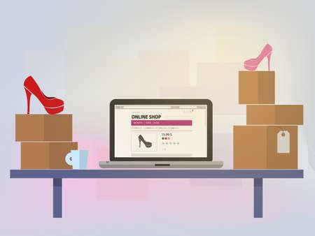 computer screen: Online shop the computer screen. Vector