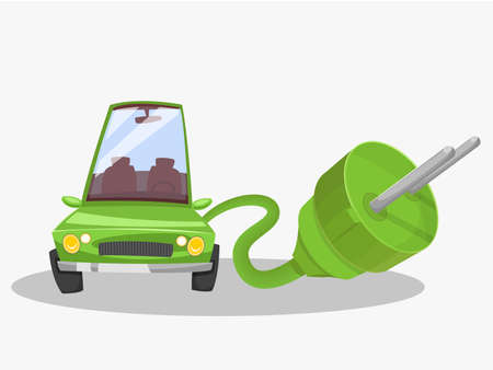 electric green: Electric green car. Giant plug. Vector