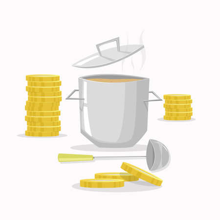 expensive food: Cooking cheap. Cooking pot with coins around. Vector