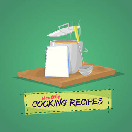 cooking pot: Healthy cooking recipes. Cooking pot and utensils book with recipes.Vector