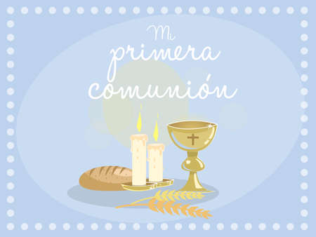 grail: My first communion. Card invitation. Religious elements on blue background. Vector Spanish text My first communion
