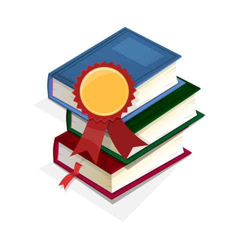 school exam: Award for the best books. Books and medal. Vector Illustration