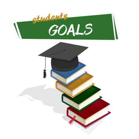 reach: Students goals. Books forming a ladder to reach the college graduation. Vector