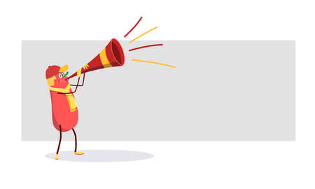 Spanish cartoon celebrating victory: red and yellow cartoon with the flag of Spain and a trumpet