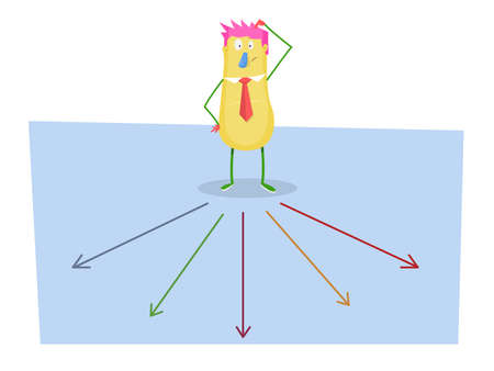 right path: Choose the right path for the future: Cartoon man thinking which way to go. Vector