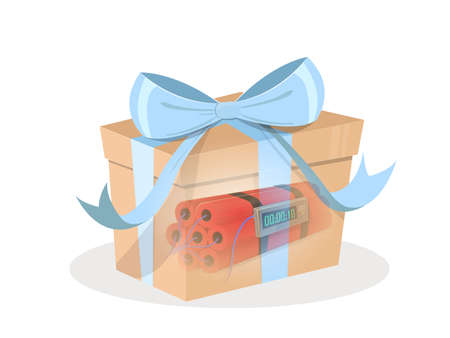 terrorist attack: Gift pump. Terrorist attack: Gift box with blue ribbon and dynamite inside. Vector