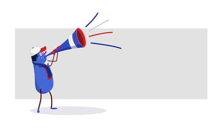 sport fan: French cartoon celebrating victory: red, blue and white cartoon with the flag of France and a trumpet Illustration