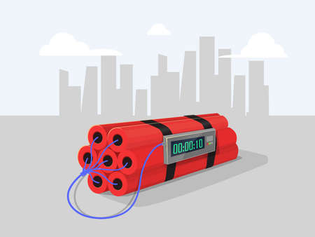 Dynamite with clock on city background. vector