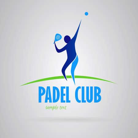 Logo paddle (tennis de paddle). Man avec paddle raquette balle en tête. couleurs bleues et vertes. Vecteur
