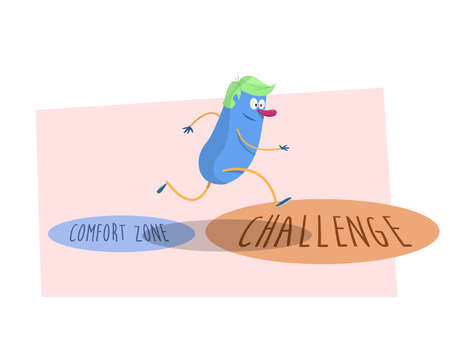new opportunity: Get out of your comfort zone!: Man jumping the small circle (comfort zone) to big circle (challenge). Vector