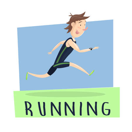 Running Man. cartoon image: Man getting in shape running. Dress and equipped with equipment running. Vector