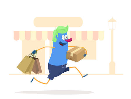 to spend the summer: Lets go shopping! Man shopping bags and packages. vector