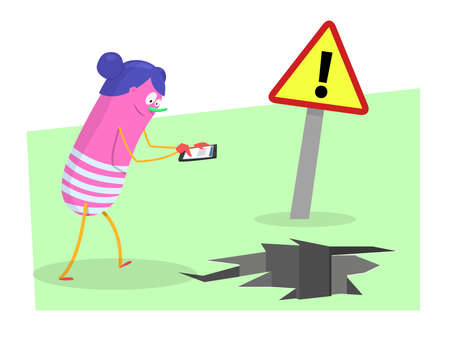 distracted: Danger with smartphones: Young woman distracted with the smartphone, about to fall into a hole. Vector Illustration