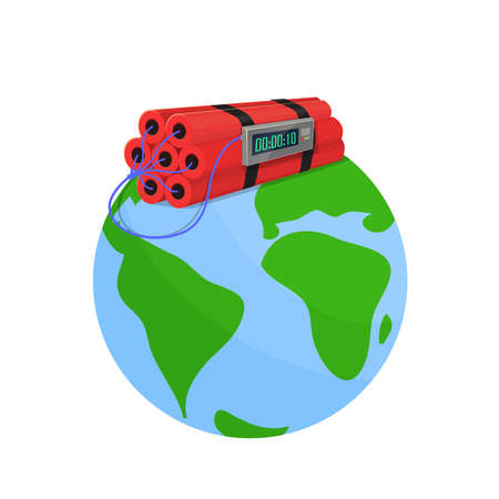 top of the world: Danger bomb in the world: The world with a dynamite on top.