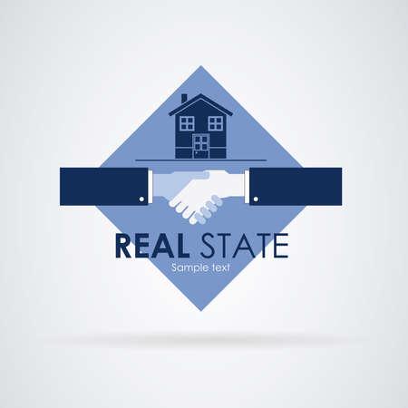 investment real state: Estado real: Manos que alcanzan un acuerdo. Casa en venta en la parte superior. Vectores