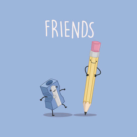 complicated: Best friends forever: pencil and sharpener, complicated friendship Illustration