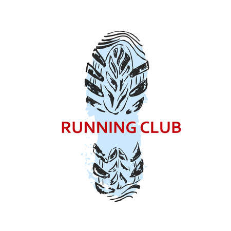 running footprint: Shoe print in black, blue background and red letters.