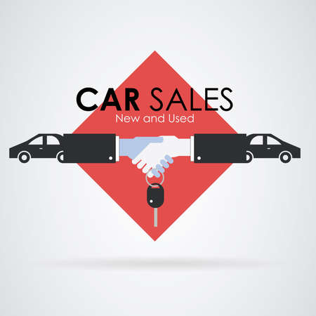 Car sale: both hands signing agreement and a car key. Red background. Illustration