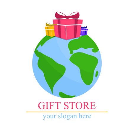 top of the world: gift store: The world with gifts on top. Store Illustration
