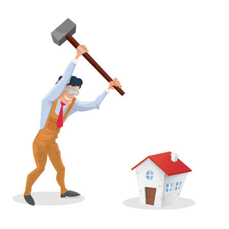 destroying: Problems house: man destroying his house Illustration
