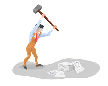 deductions: Tax reduction: Man with hammer in hand, pounding pile of papers taxes. Illustration