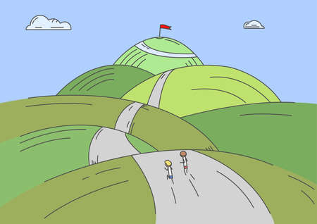 The race for the top spot: Two people competing in a hilly field with obstacles Illustration