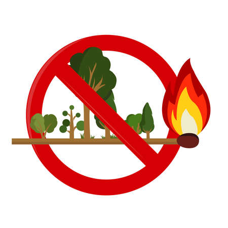 Risk of fire in forest: Forest on earwax. Flame consuming the forest