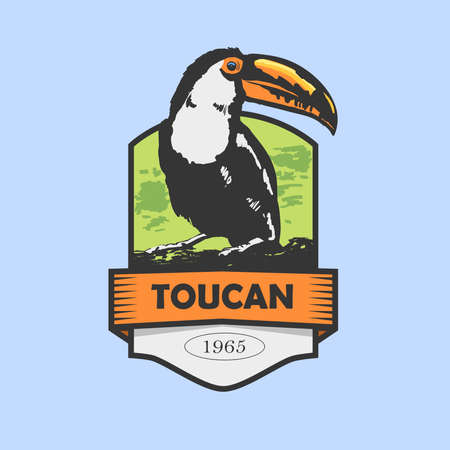 tucan: wild bird: Silhouette of a toucan on shield with green background