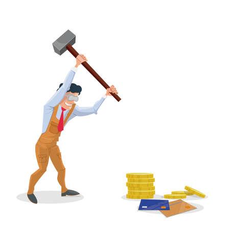 destroying: Destroying money: man with a hammer destroying money