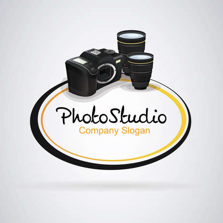 Logo camera photography: Reflex camera with two lenses. Text inside circles. Vector image. Illustration